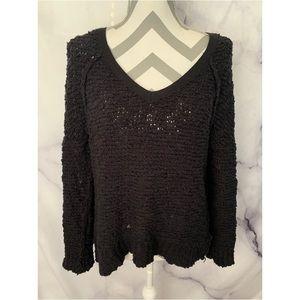 Free People chunky black vneck sweater shirt